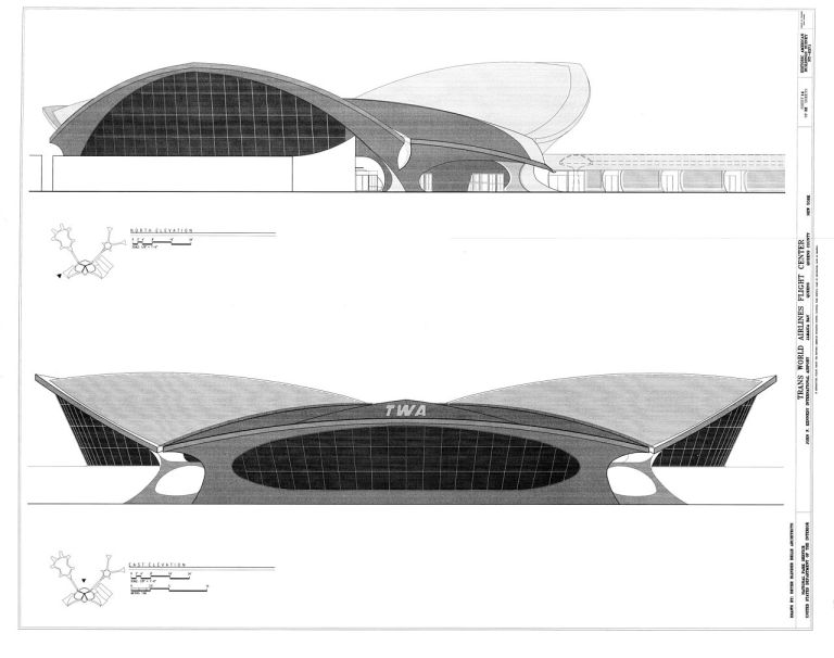Elevations of the TWA Flight Center. By Historic American Buildings Survey (HABS), Library of Congress (Daderot) [Public domain or Public domain], via Wikimedia Commons