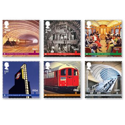 Royal Mail's London Underground stamp set, issued 9 January 2013 (c Royal Mail, from that company's website)