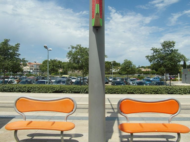Benches on Montpellier tram line 2, at St Jean de Vedas tramstop.