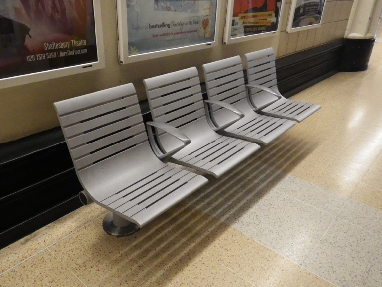 Bench at Charing Cross station, London. © Daniel Wright 2013