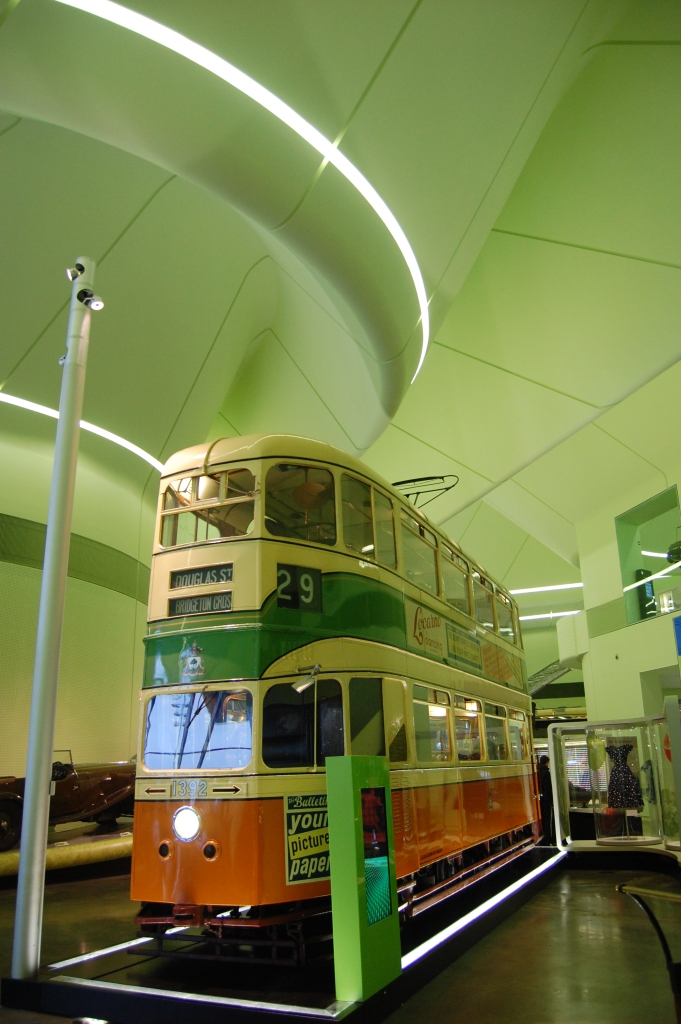Another view of the green ceiling and clever lighting at the Riverside Museum of Transport, Glasgow. Oh, and there's a Glasgow tram in the foreground. &copy Daniel Wright 2013