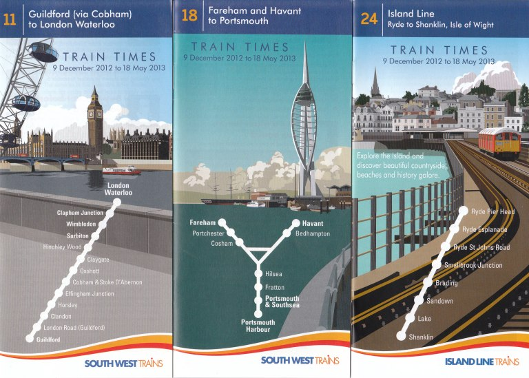 Three of South West Trains'  2013 timetable leaflets, with attractive covers