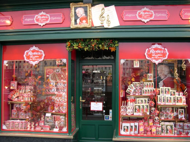 A chocolate shop full of Mozart-inspired chocolates, in Salzburg, Austria. © Daniel Wright 2007