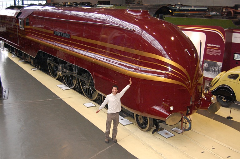 LMS streamliner Duchess of Hamilton (the streamlined casing was restored by the National Rail Museum where this photo was taken. You'll have to excuse the buffoon in the foreground; he was very excited to be there... © Daniel Wright 2011