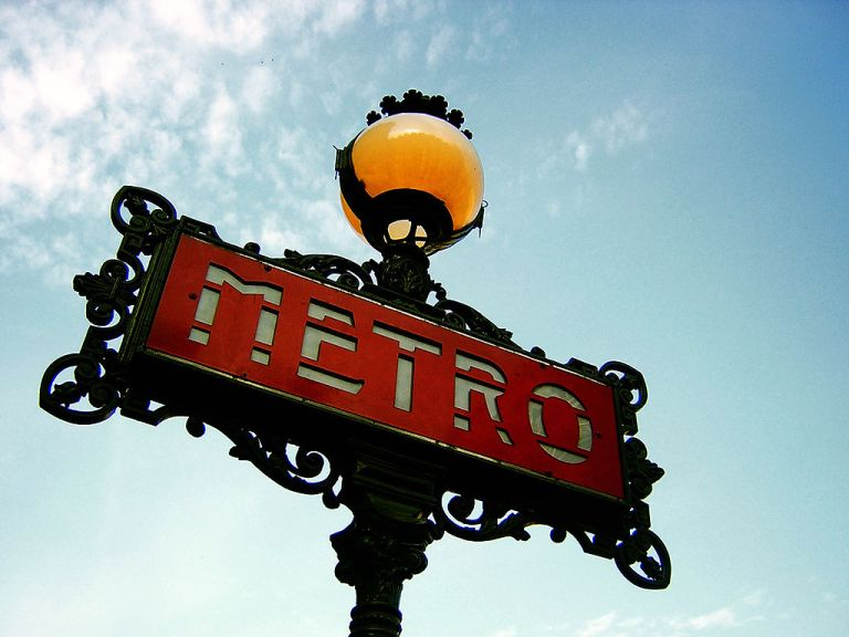 http://commons.wikimedia.org/wiki/File:Paris_Metro_Sign.jpg