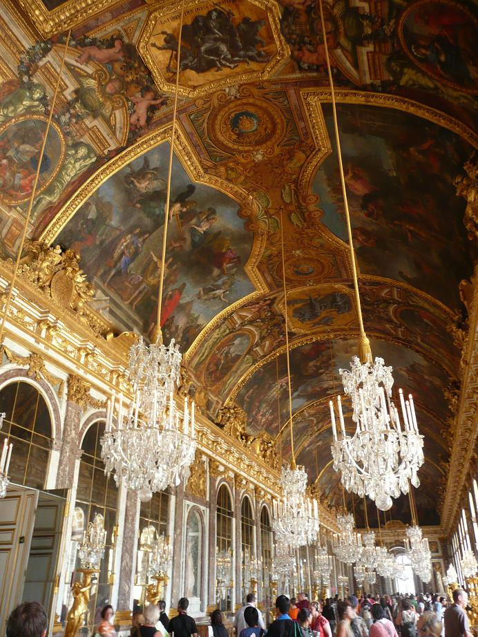 The actual Hall of Mirrors at the Palace of Versailles.