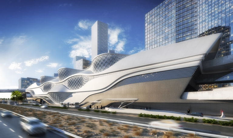 Design for King Abdullah Financial District metro station: exterior. Via News page at Zaha Hadid Architects website, here