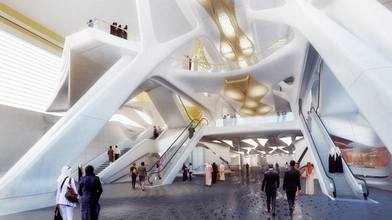 Design for King Abdullah Financial District metro station: interior. Via News page at Zaha Hadid Architects website, here