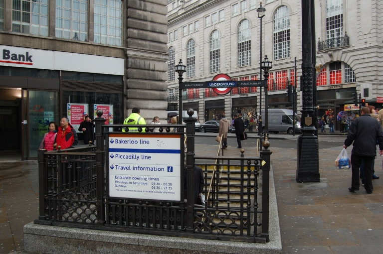 Piccadilly Circus London Underground entrance. By Daniel Wright