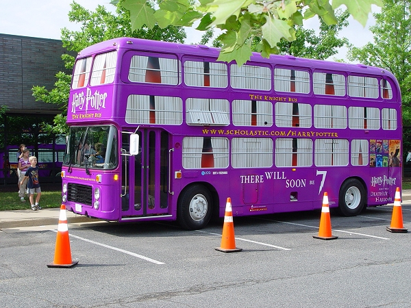 A Bristol RE disguised as the Knight Bus for a promotional tour in America. By Fairfax Library Foundation [CC