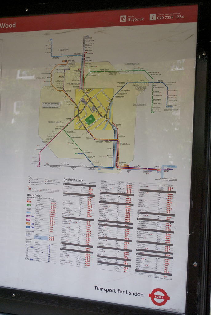 London bus 'spider' map. By eldan [CC] via flickr