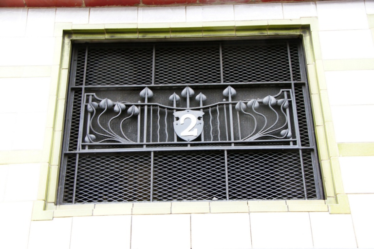 Grille for lift no.2 at Mornington Crescent station, London, UK. By Chris Sampson [CC BY-] via this flickr page.