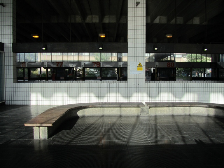 Curved seating at Preston Bus Station. By Ilike [CC BY- ] via flickr