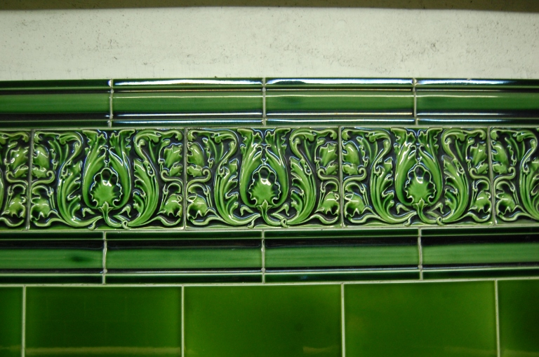 Acanthus leaf tiling at Regent's Park Underground station, London, UK. By Daniel Wright