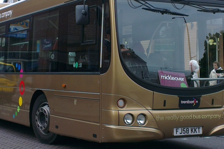 The latest trentbarton logo, appearing on the company's special gold bus. Detail from an original photo by soloM920 [CC BY- 2.0] via this flickr page