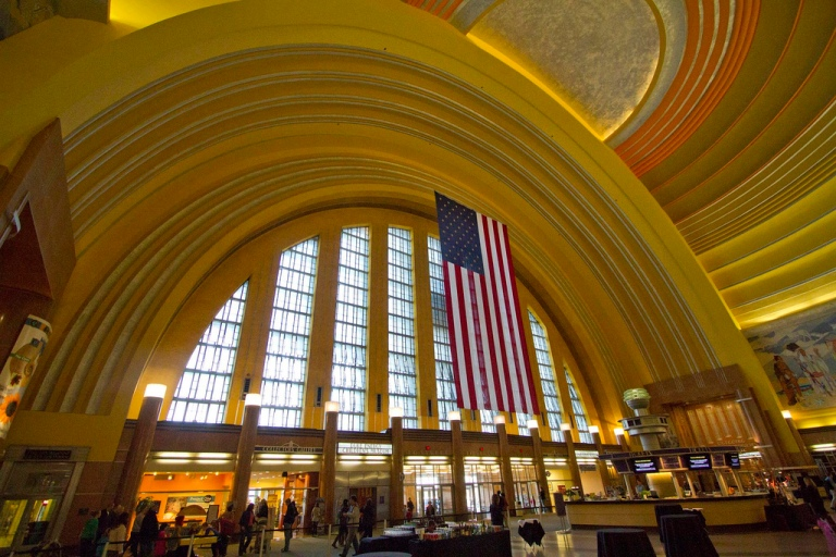 Inside the rotunda at Cincinnati Union Terminal, 2010. You're within the half-dome, looking back towards the main entrance. By Ken Colwell [CC BY 2.0] via this flickr page