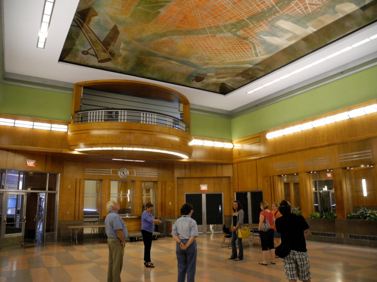 Art Deco / Streamline Moderne styling in the Formal Dining Room. The mural on the ceiling is one of xxx's. By Matt' Johnson [CC BY 2.0] via this flickr page