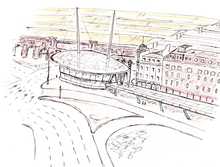 Sketch of the unrealised Vauxhall Pod. By Daniel Wright