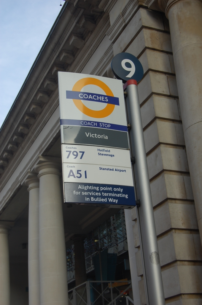 The rarely-seen orange version of the TfL roundel is used for coach stops and Victoria coach station. By Daniel Wright (CC BY-NC-ND 2.0) on this flickr page