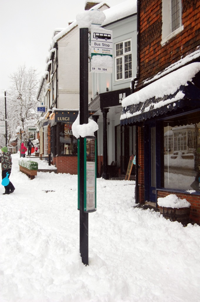 Bus stop in the snow, Surrey, UK. By Daniel Wright [CC BY-NC-ND 2.0]