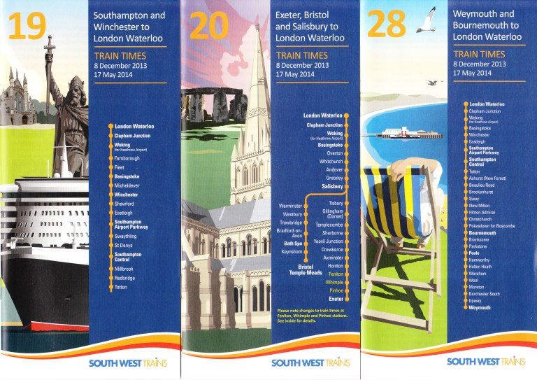 A selection of timetables from South West Trains' December 2013 range. Cover illustrations are by Tandem Design.