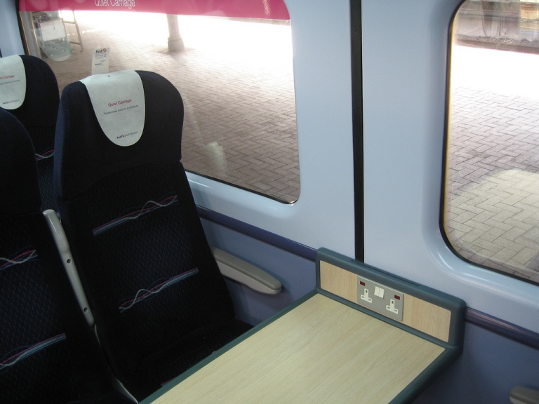 Standard Class seating on First Great Western (the moquette is FKU123 from Holdsworth, I think, although there is another colourway which is more purple). By Simon Pielow [CC BY 2.0] via this flickr page