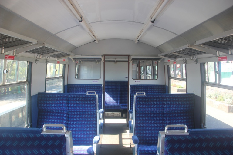 Blue Blaze moquette in a slam door train interior. By Matthew Black [CC BY 2.0] via this flickr page