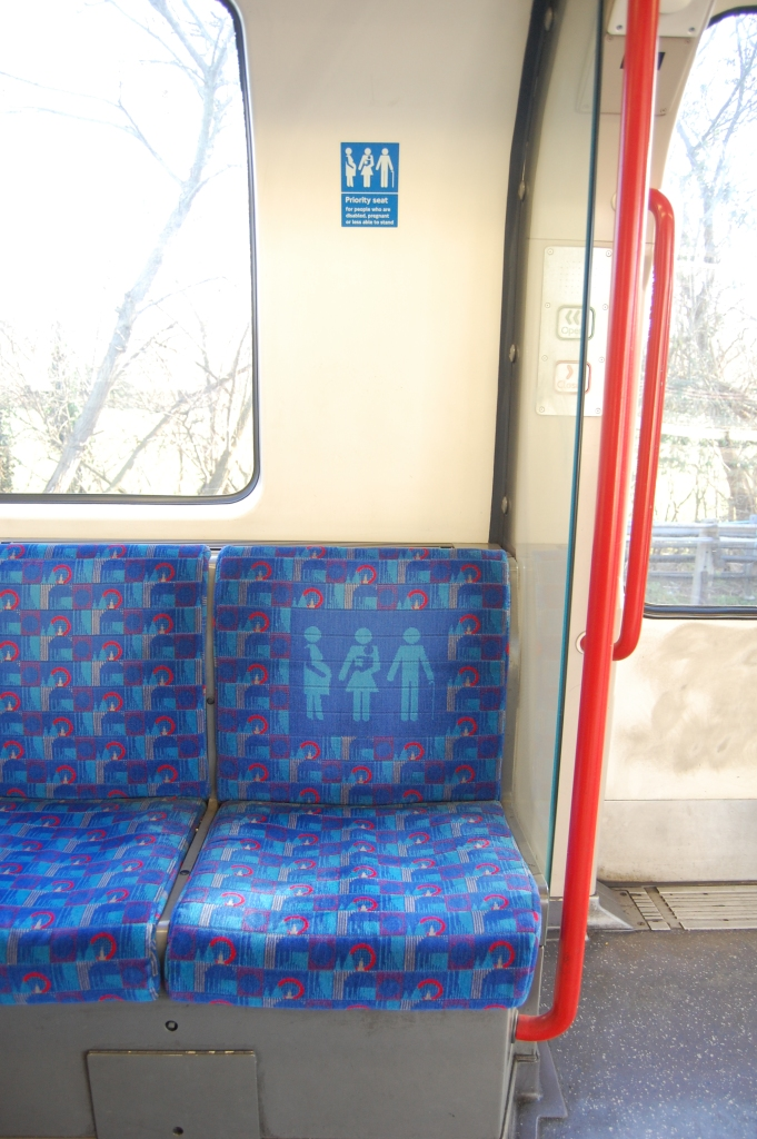Priority seat on Central Line 192 stock (23 January 2014). By Daniel Wright [CC BY-NC-ND 2.0] via this flickr page