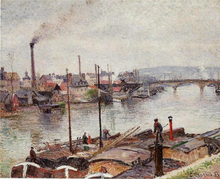 The Port of Rouen 2. By Camille Pissarro (1883). [Public Domain] via WikiPaintings