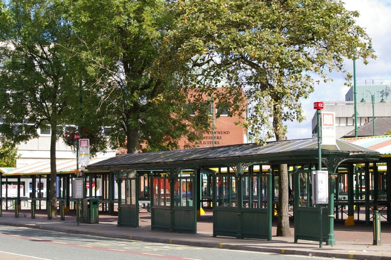 The tram, and now bus, shelter on Market Street, Hyde. By Serigrapher [CC BY-SA 2.0] via this flickr page