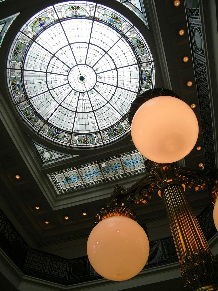 Ceiling dome at Baltimore Penn Station, Maryland, USA. http://commons.wikimedia.org/wiki/File:Baltimore_Penn_Station_Ceiling_and_Lamp.jpg