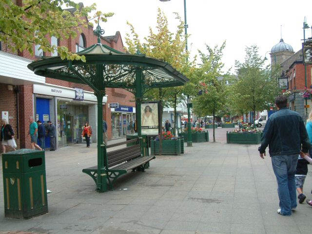 The old tram shelter on Market Place, Hyde. © Copyright Gerald England and licensed for reuse under this Creative Commons Licence