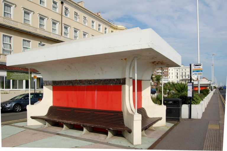 Ventilation shaft shelter/bus shelter, September 2013. By Daniel Wright [CC BY-NC-ND 2.0] via this flickr set