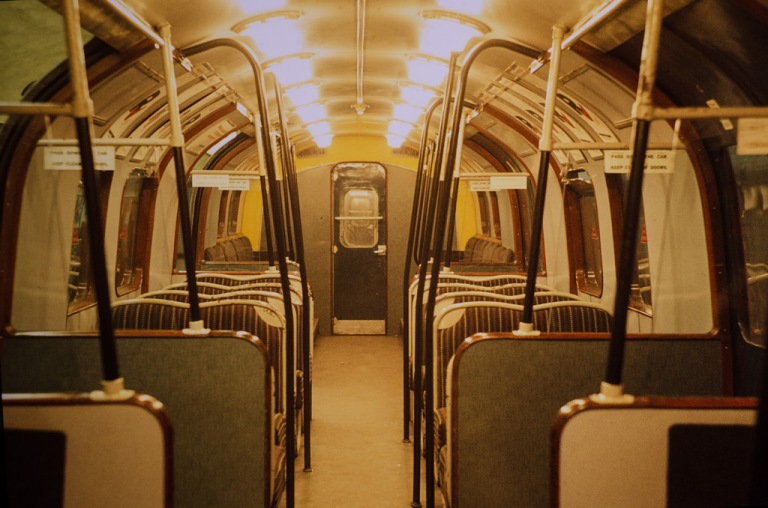 Interior of a Waterloo and City Line 1940 stock carriage, photographed in 1978. By Tim Abbott [CC BY 2.0] via this flickr page
