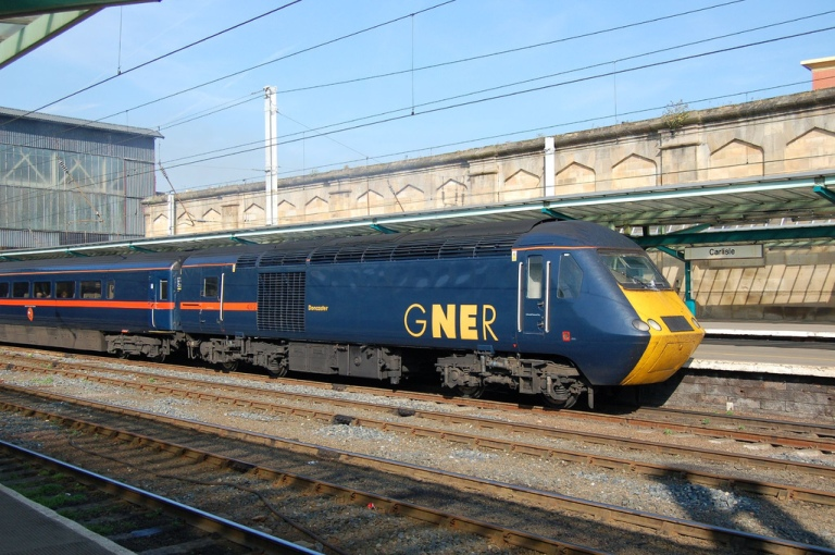 The visual identity of GNER's trains, designed by Vignelli Associates, played on heritage aspects of the route on which they operated. By Matt Thorpe [CC BY 2.0] via this flickr page