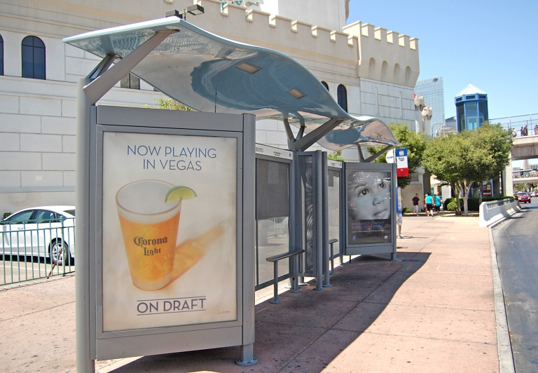 Bus shelter at Exalibur North tram station, Las Vegas, May 2014. By Daniel Wright [CC BY-NC-ND 2.0] from this flickr set