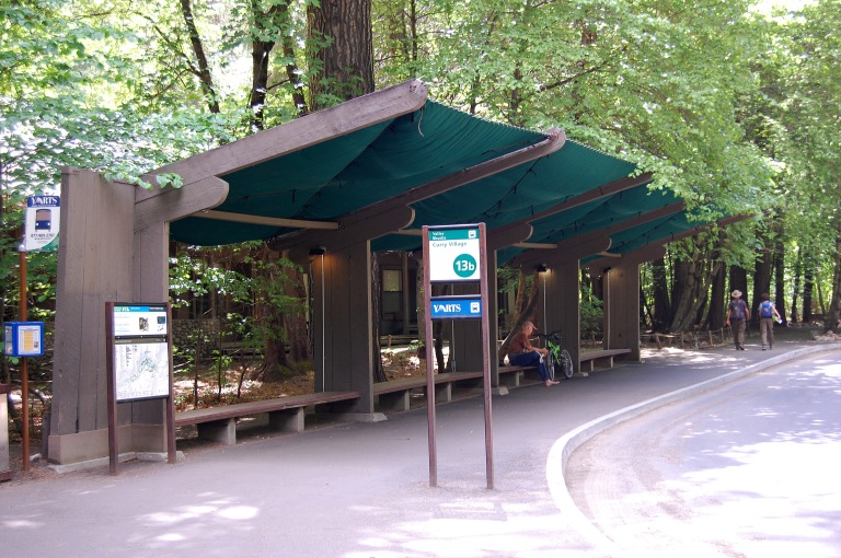 Bus shelter at Curry Village bus stop, Yosemite National Park (May 2014). By Daniel Wright [CC BY-NC-ND 2.0] via this flickr set.