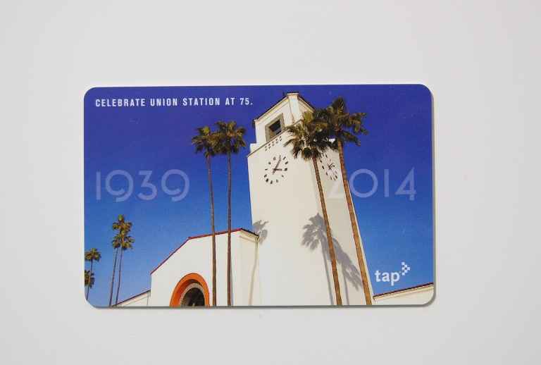 "The commemorative Los Angeles Metro ""tap"" smartcard, celebrating Union Station's 75th birthday. Photo by Daniel Wright, card design by Metro Los Angeles."