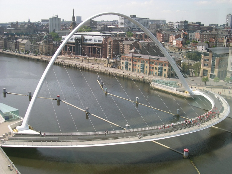 The Gateshead Millennium Bridge, as seen from the Baltic. Photo by Daniel Wright [CC BY-NC-ND 2.0] via this flickr set
