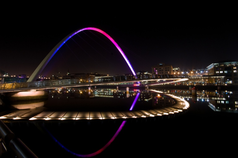 Gateshead Millennium Bridge at night. Photo by Euan Morrison [CC BY 2.0] via this flickr page