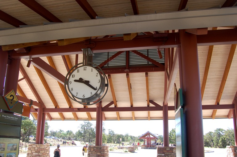 The clock in the bus shelter, Grand Canyon Visitor Center. Photo by Daniel Wright [CC BY-NC-ND 2.0] via this flickr set