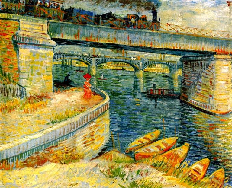 Bridges Across the Seine at Asnieres. Vincent can Gogh, 188x. Via WikiArt