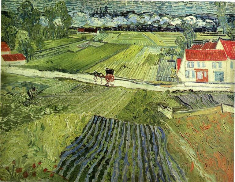Landscape with Carriage and Train. Vincent van Gogh, 1888. Public Domain. Via WikiArt.