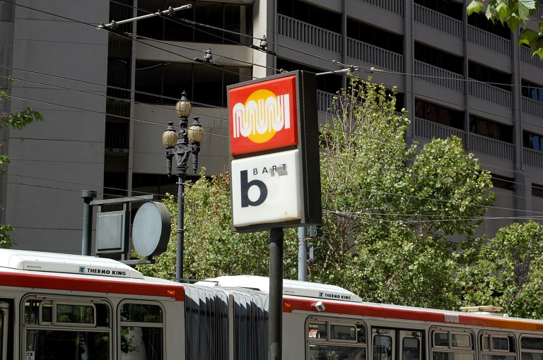 MUNI and BART logos, Market St, San Francisco (20 May 2014)