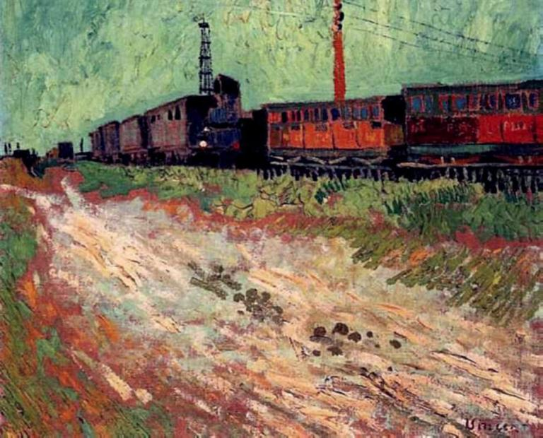 Railway Carriages. Vincent van Gogh, 1888. Public Domain. Via WikiArt