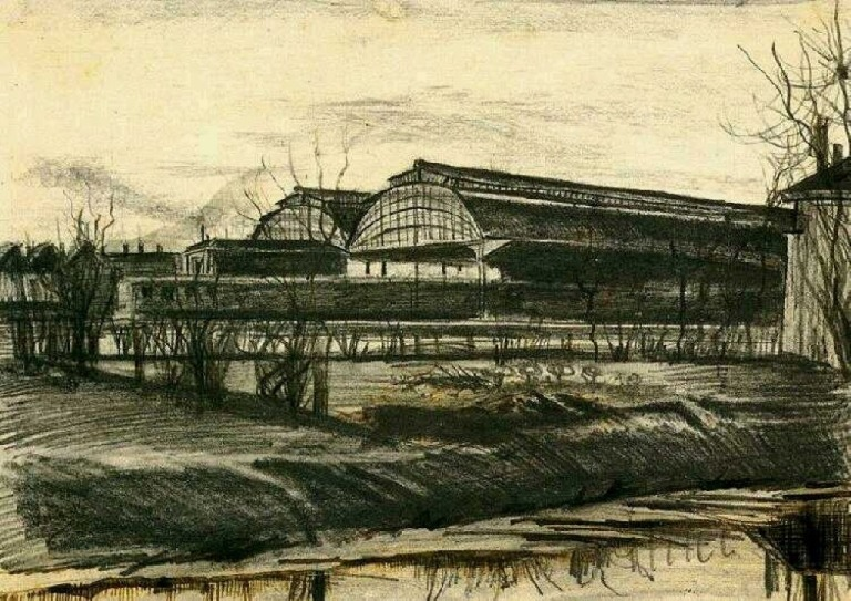 Station in The Hague. Vincent van Gogh, 1882. Public Domain. Via WikiArt