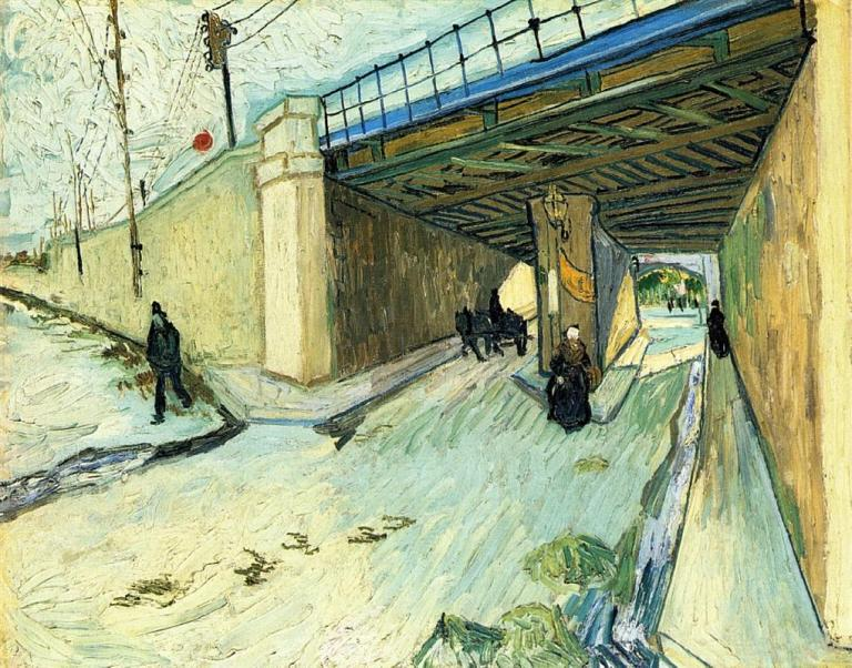 The Railway Bridge over Avenue Montmajour. Vincent van Gogh 1888. Public Domain. Via WikiArt