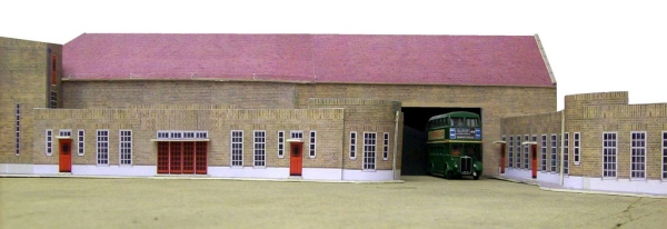 Dorking bus garage, a model by Kingsway Models. Photo © John Howe (used with permission) via this flickr page