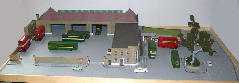 This model of St Albans bus garage by Kingsway Models shows the layout of the garage, and the way that the office block disguised the presence of the garage from the main road. Photo © John Howe via this flickr album