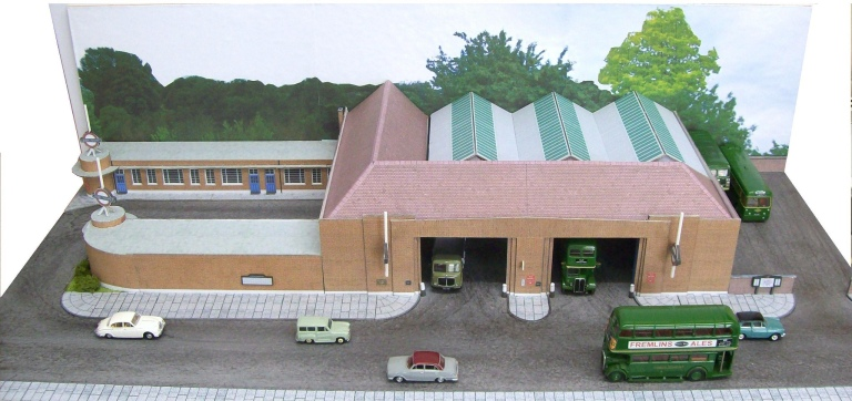 Staines bus garage, a model by Kingsway Models. Photo © John Howe (used with permission) via this flickr page
